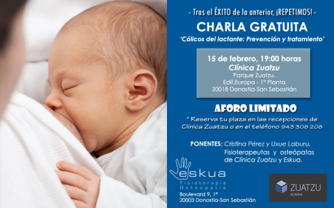 Nueva charla en FEBRERO: Cólicos del lactante. Prevención y tratamiento.